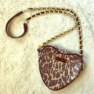 Betsey Johnson Leopard Sequin Heart Purse.